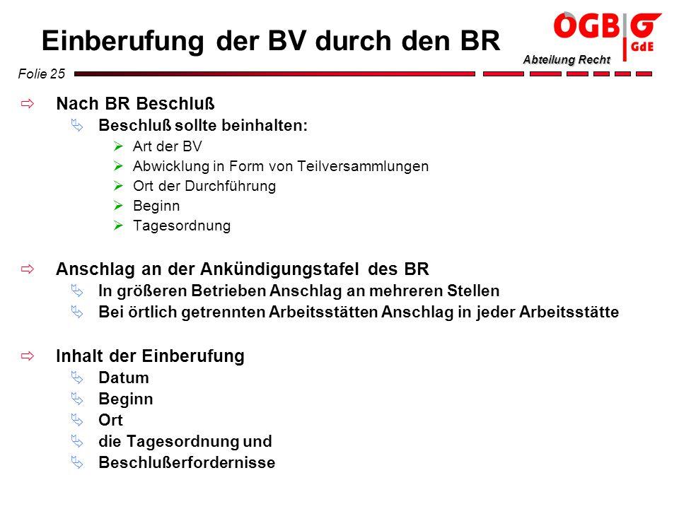 Einberufung der BV durch den BR