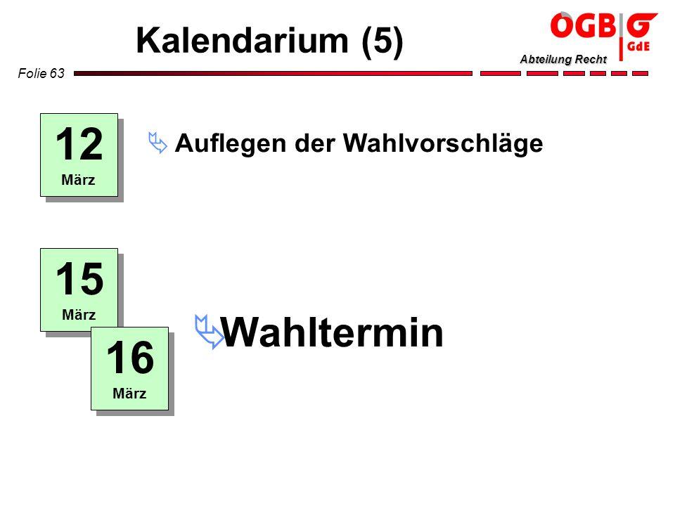 12 15 16 Wahltermin Kalendarium (5) Auflegen der Wahlvorschläge März