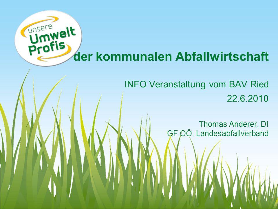der kommunalen Abfallwirtschaft INFO Veranstaltung vom BAV Ried 22. 6