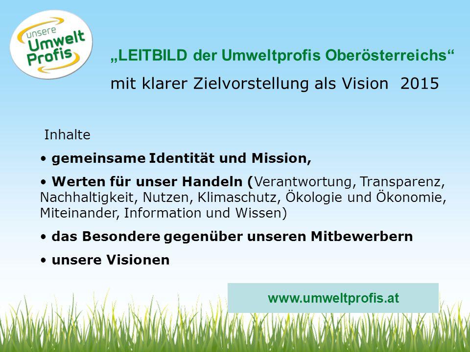"""""""LEITBILD der Umweltprofis Oberösterreichs"""