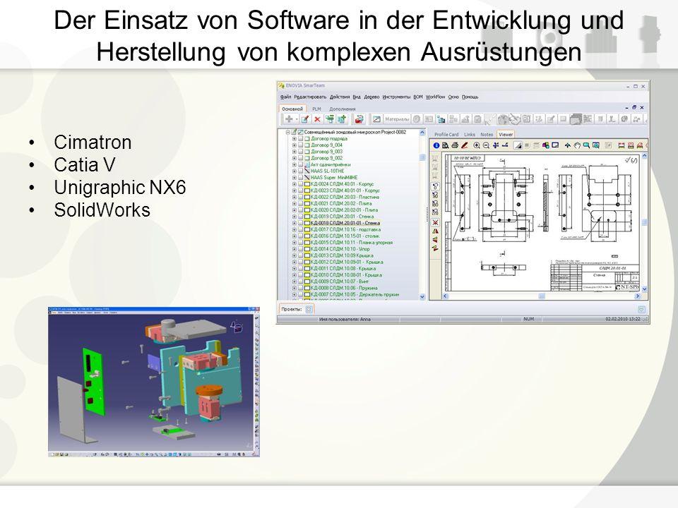 Der Einsatz von Software in der Entwicklung und Herstellung von komplexen Ausrüstungen