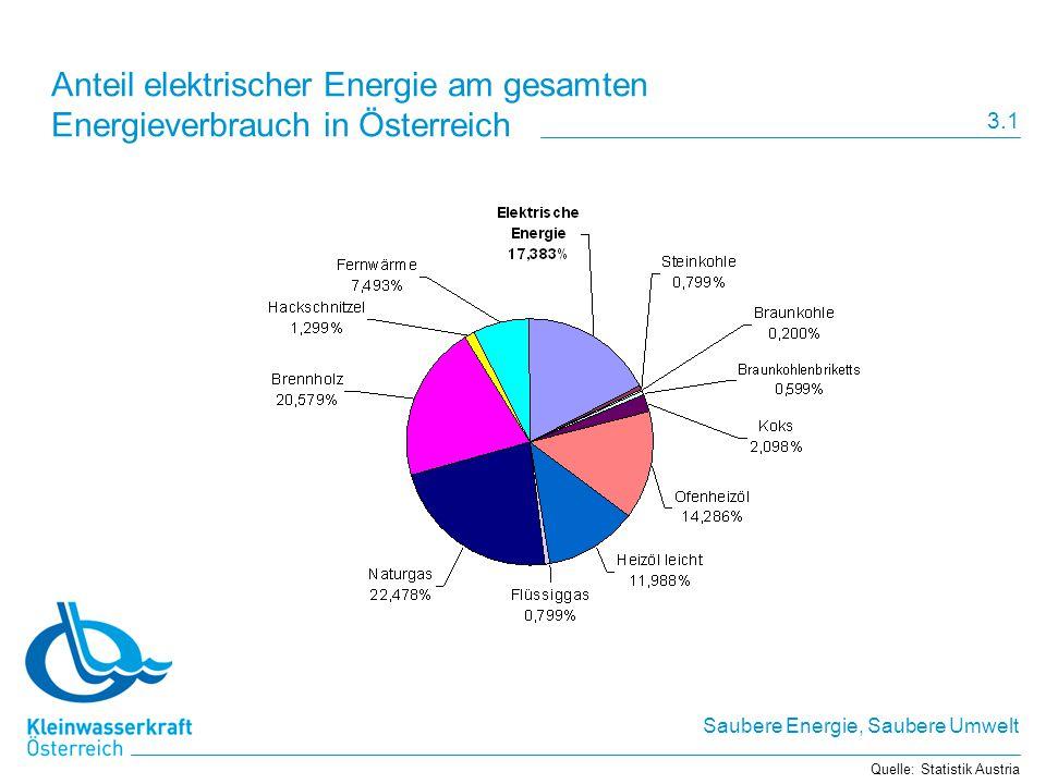 Anteil elektrischer Energie am gesamten Energieverbrauch in Österreich