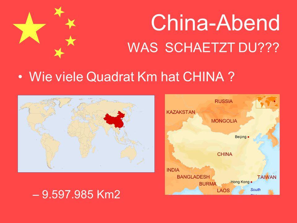 Wie viele Quadrat Km hat CHINA