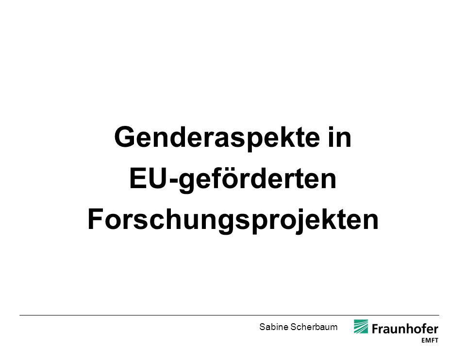 Genderaspekte in EU-geförderten Forschungsprojekten
