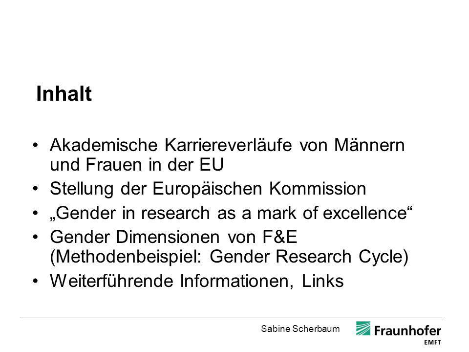 Inhalt Akademische Karriereverläufe von Männern und Frauen in der EU