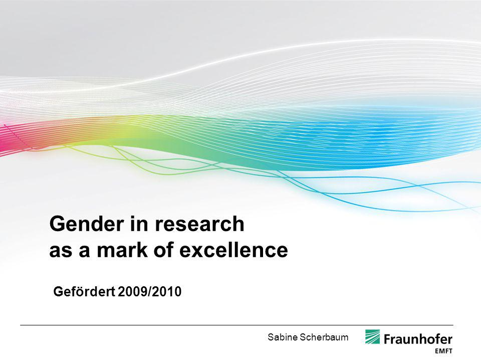 Gender in research as a mark of excellence Gefördert 2009/2010