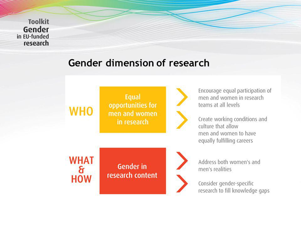 Gender dimension of research