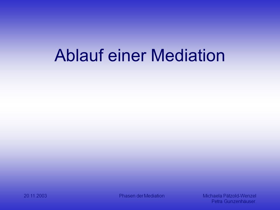 Ablauf einer Mediation