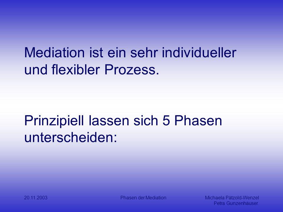 Mediation ist ein sehr individueller und flexibler Prozess