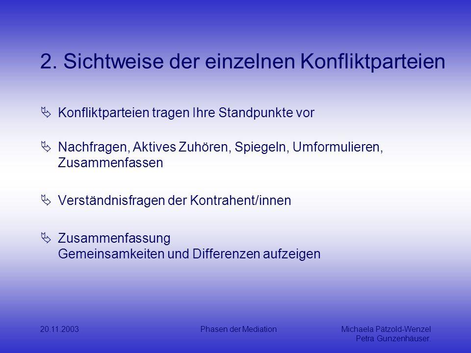 2. Sichtweise der einzelnen Konfliktparteien