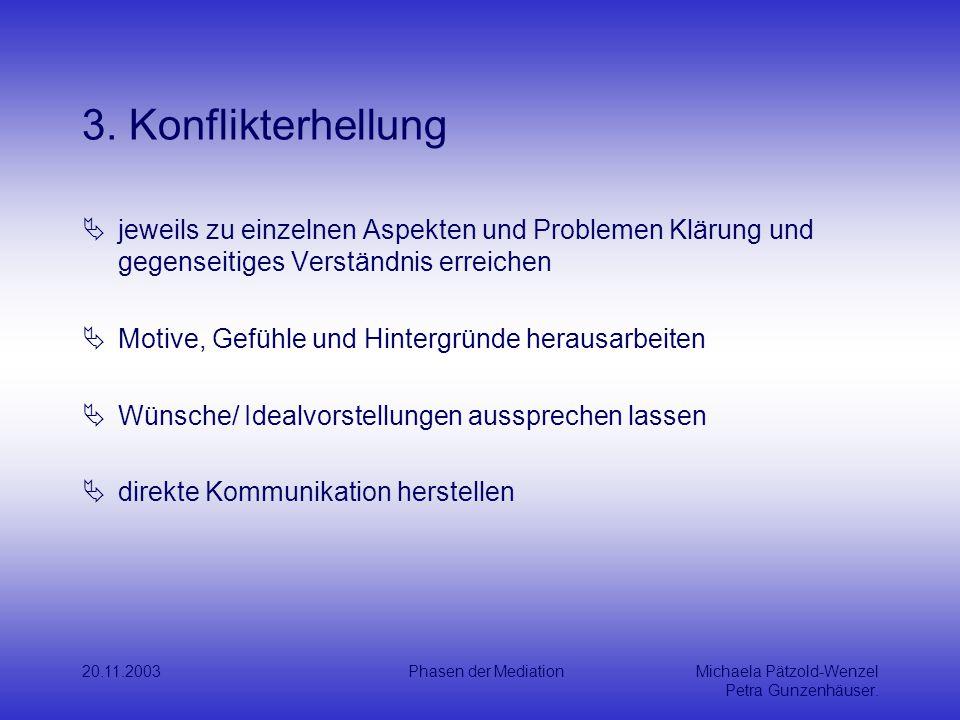 3. Konflikterhellung jeweils zu einzelnen Aspekten und Problemen Klärung und gegenseitiges Verständnis erreichen.