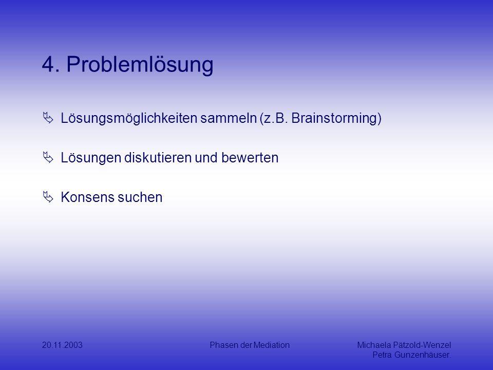 4. Problemlösung Lösungsmöglichkeiten sammeln (z.B. Brainstorming)