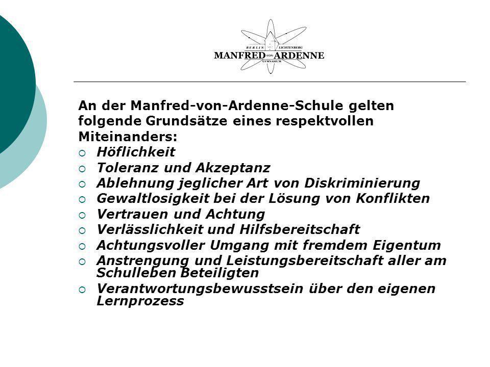 An der Manfred-von-Ardenne-Schule gelten