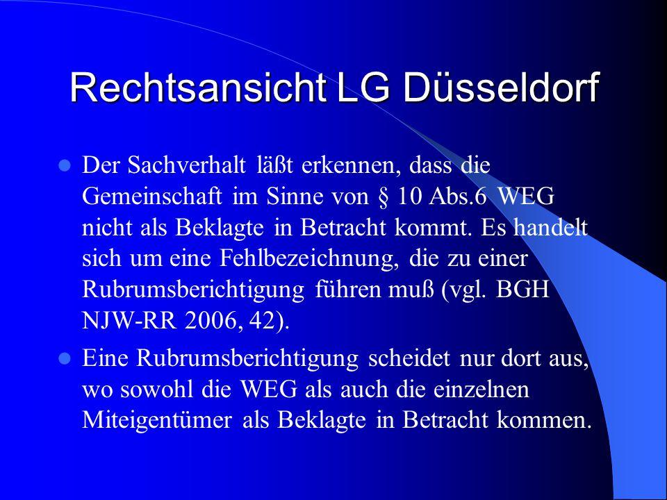 Rechtsansicht LG Düsseldorf