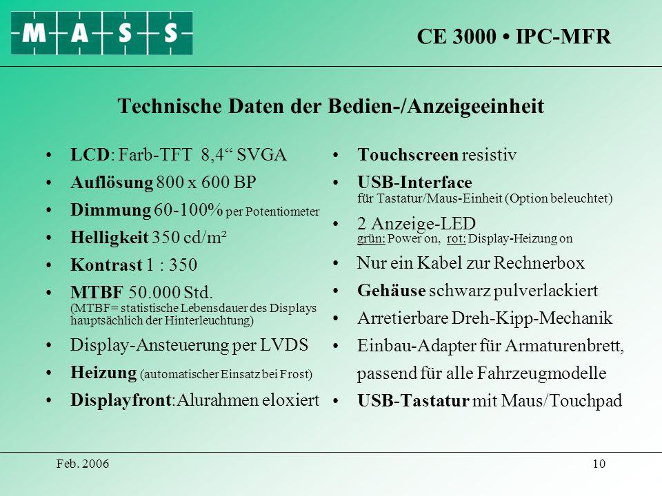Technische Daten der Bedien-/Anzeigeeinheit