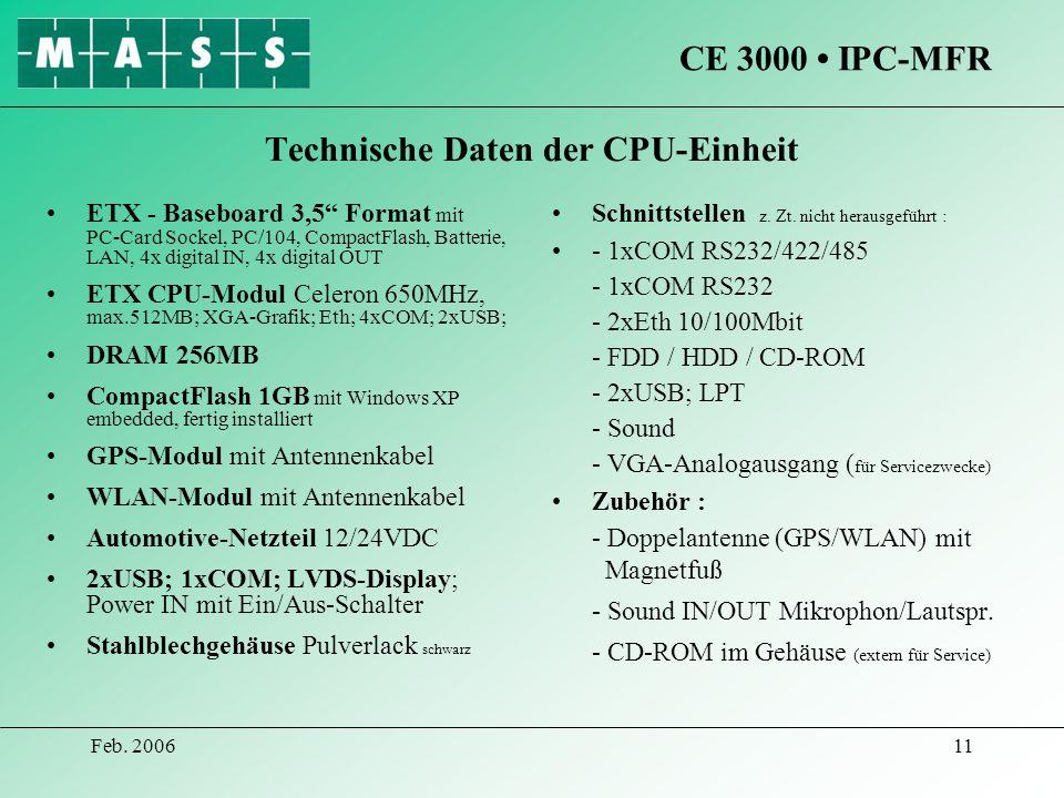 Technische Daten der CPU-Einheit