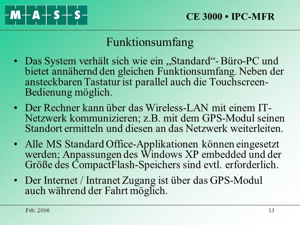 CE 3000 • IPC-MFR Funktionsumfang.