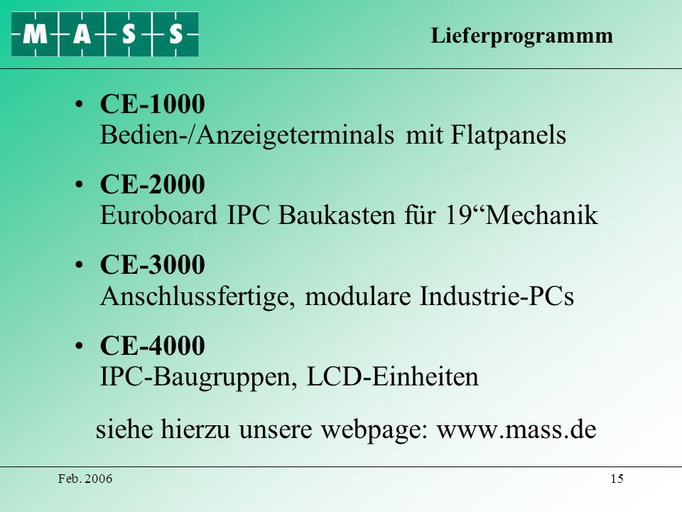 CE-1000 Bedien-/Anzeigeterminals mit Flatpanels