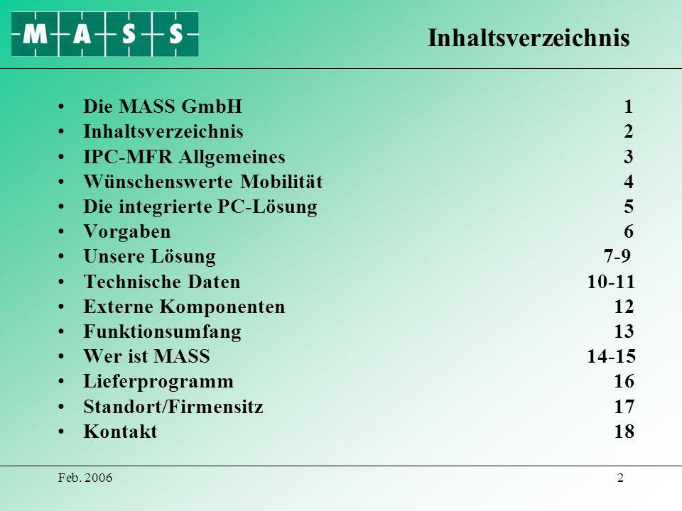 Inhaltsverzeichnis Die MASS GmbH 1 Inhaltsverzeichnis 2