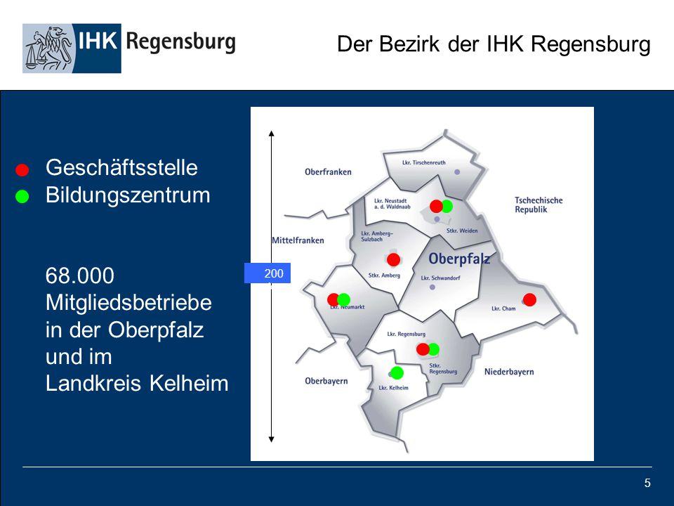 Der Bezirk der IHK Regensburg