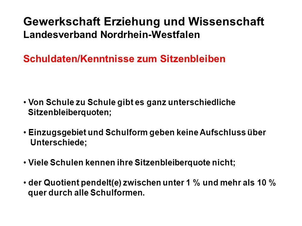 Gewerkschaft Erziehung und Wissenschaft Landesverband Nordrhein-Westfalen Schuldaten/Kenntnisse zum Sitzenbleiben