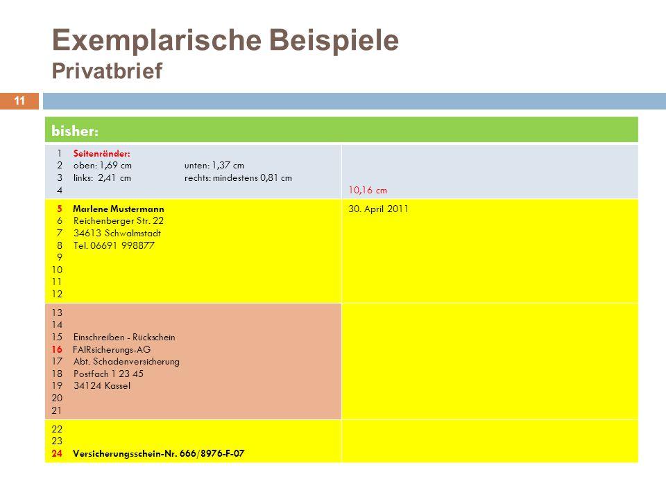 Exemplarische Beispiele Privatbrief