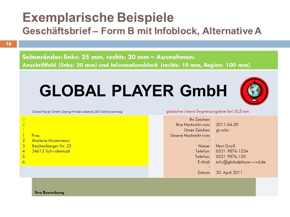 Exemplarische Beispiele Geschäftsbrief – Form B mit Infoblock, Alternative A