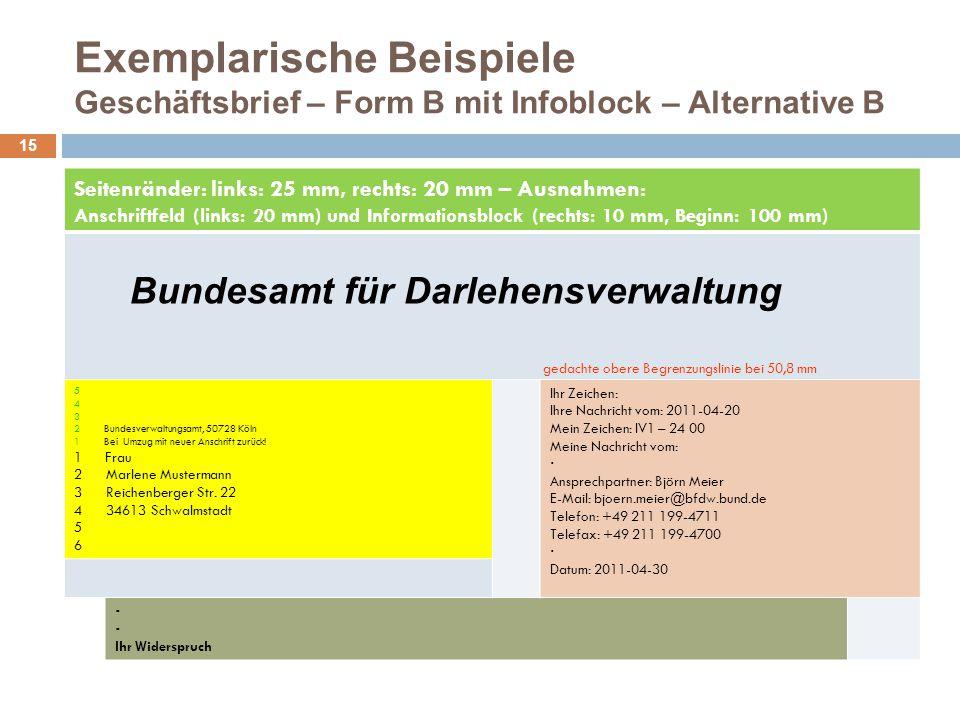 Exemplarische Beispiele Geschäftsbrief – Form B mit Infoblock – Alternative B