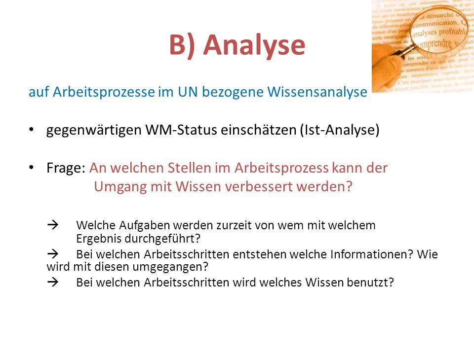 B) Analyse auf Arbeitsprozesse im UN bezogene Wissensanalyse