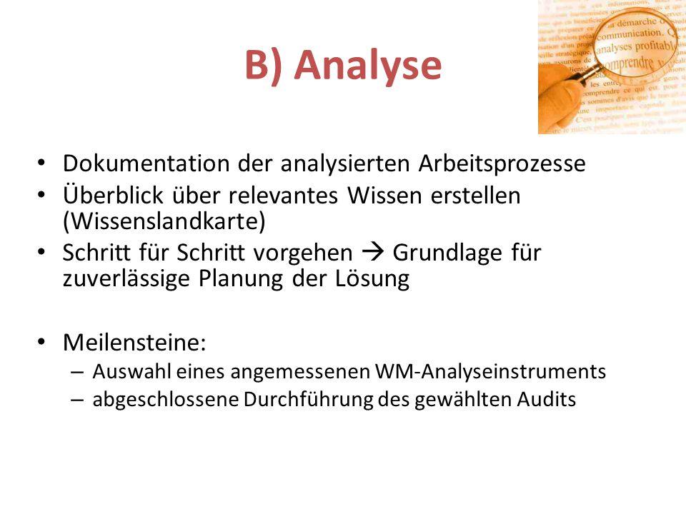 B) Analyse Dokumentation der analysierten Arbeitsprozesse