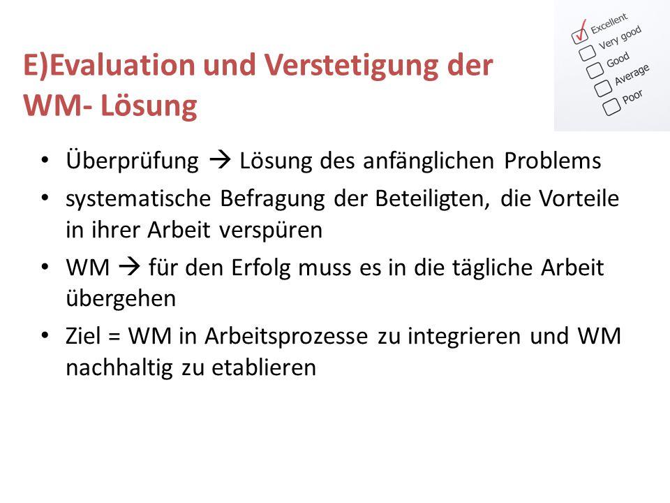 E)Evaluation und Verstetigung der WM- Lösung
