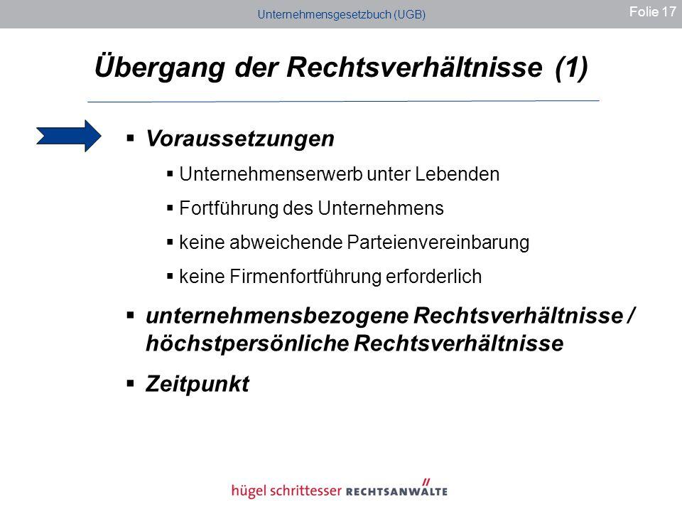 Übergang der Rechtsverhältnisse (1)