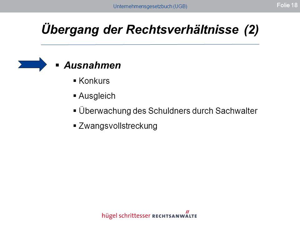 Übergang der Rechtsverhältnisse (2)