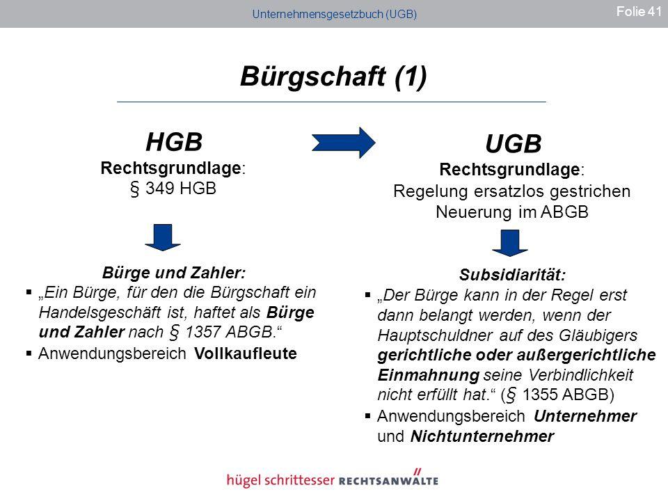 Bürgschaft (1) HGB UGB Rechtsgrundlage: Rechtsgrundlage: § 349 HGB