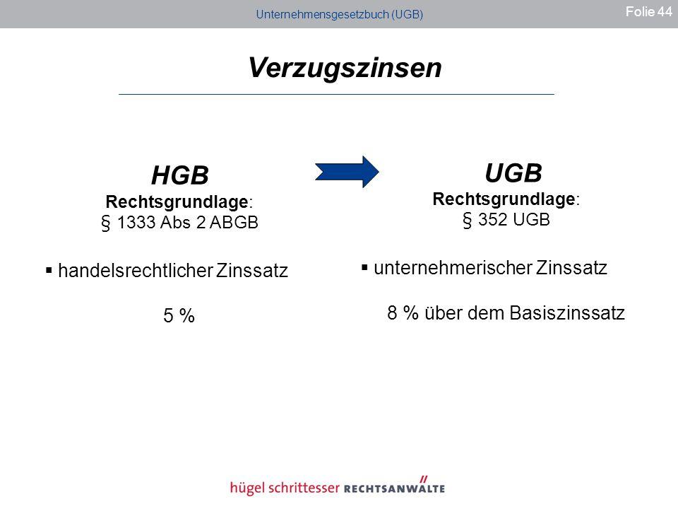 Verzugszinsen HGB UGB unternehmerischer Zinssatz