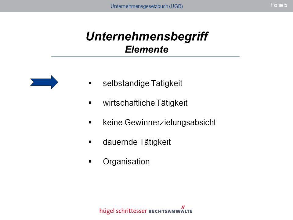 Unternehmensbegriff Elemente