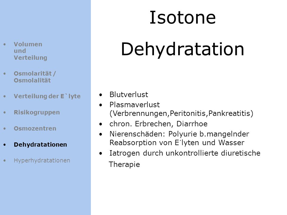 Isotone Dehydratation Blutverlust
