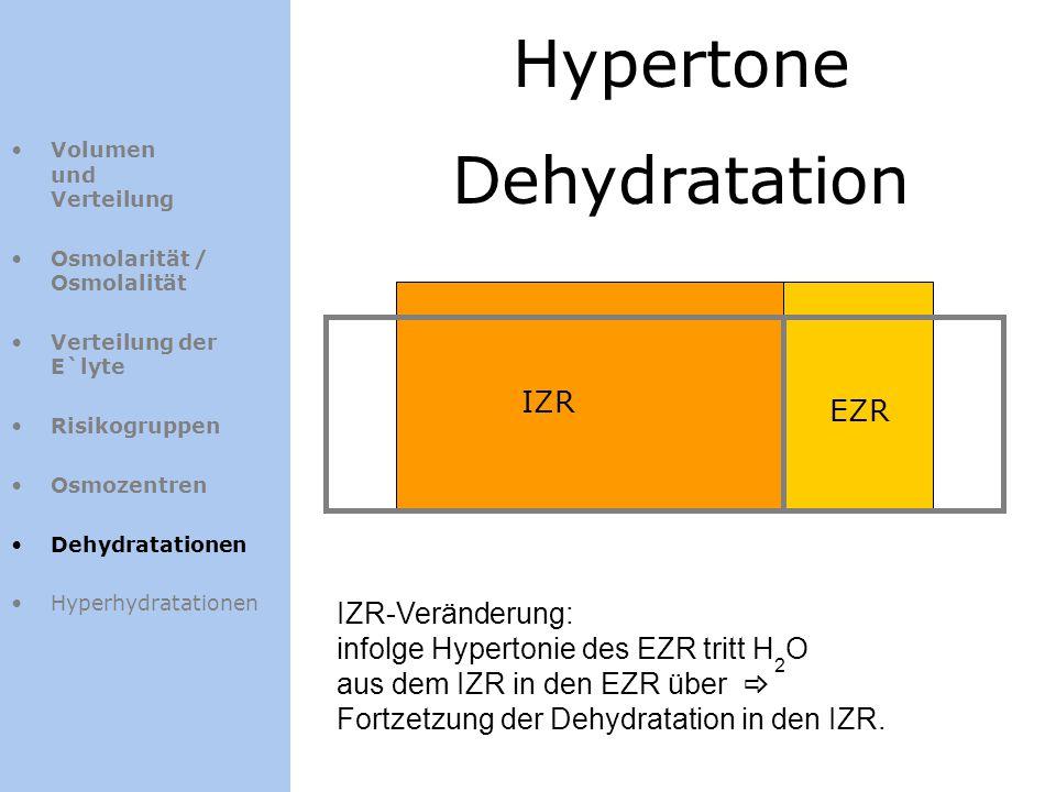 Hypertone Dehydratation IZR EZR IZR-Veränderung: