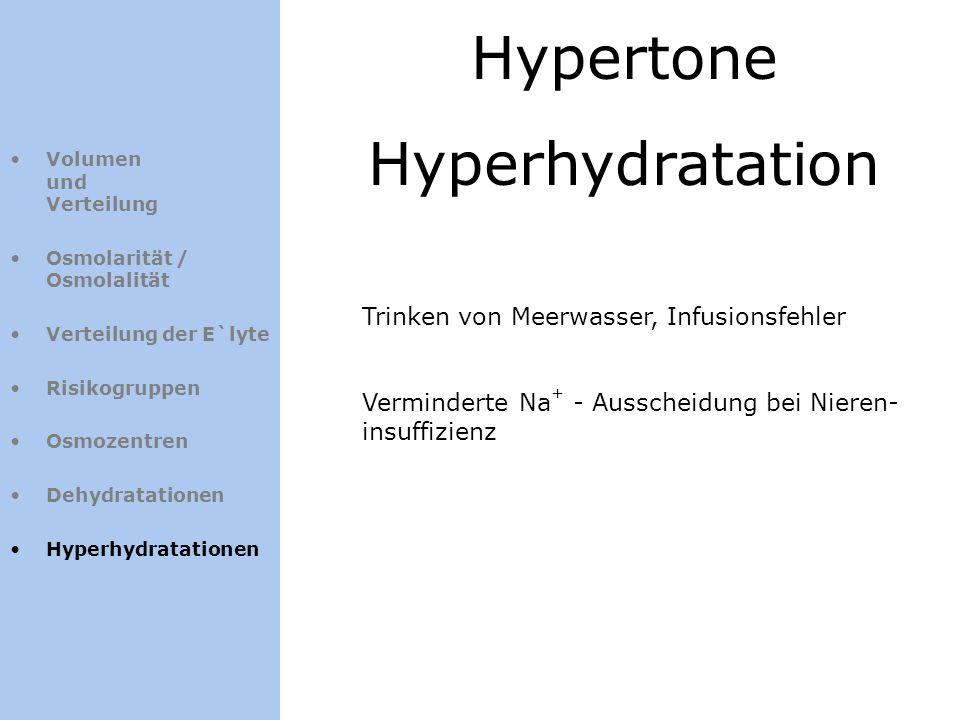 Hypertone Hyperhydratation Trinken von Meerwasser, Infusionsfehler
