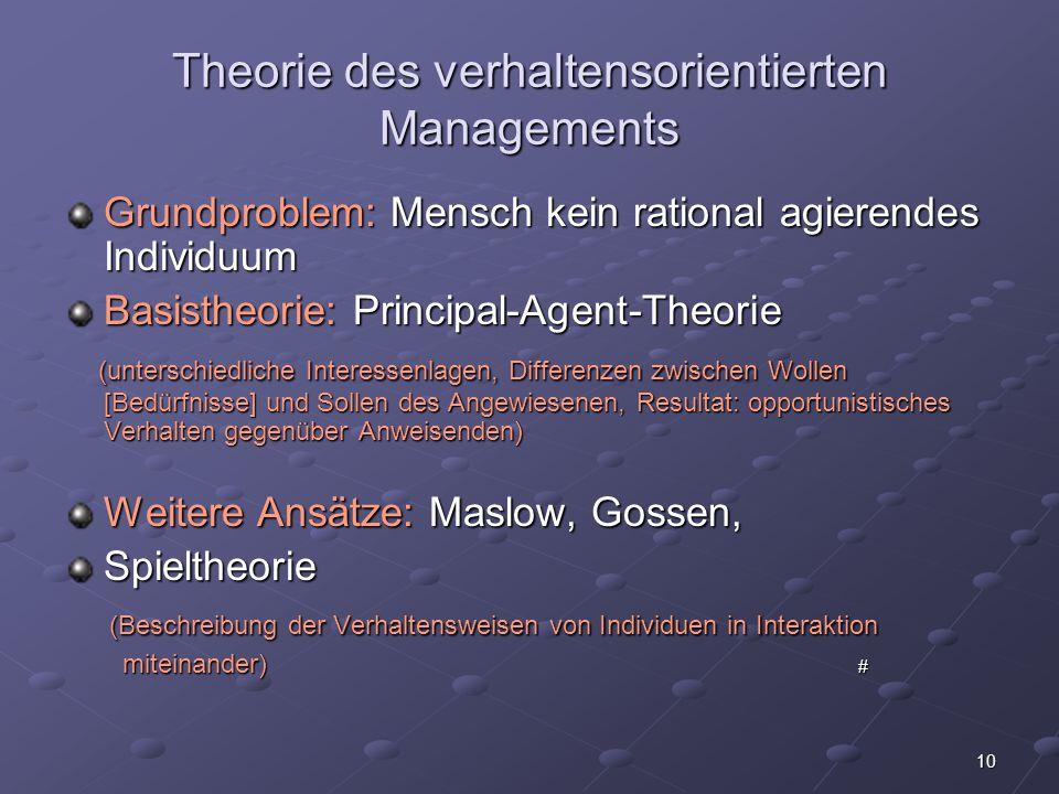 Theorie des verhaltensorientierten Managements