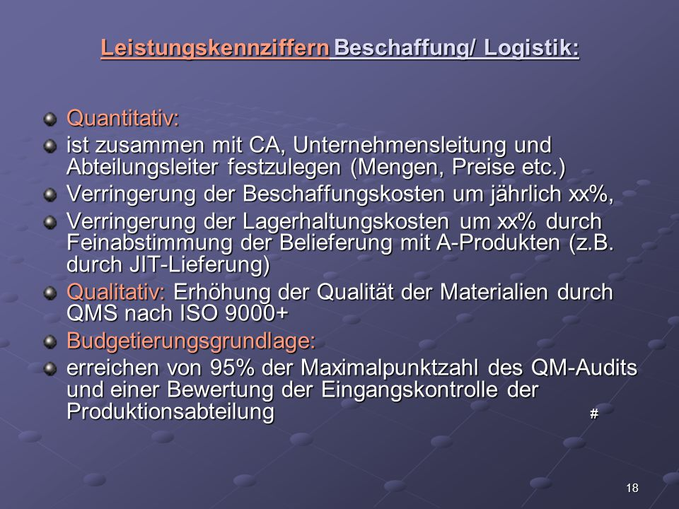 Leistungskennziffern Beschaffung/ Logistik: