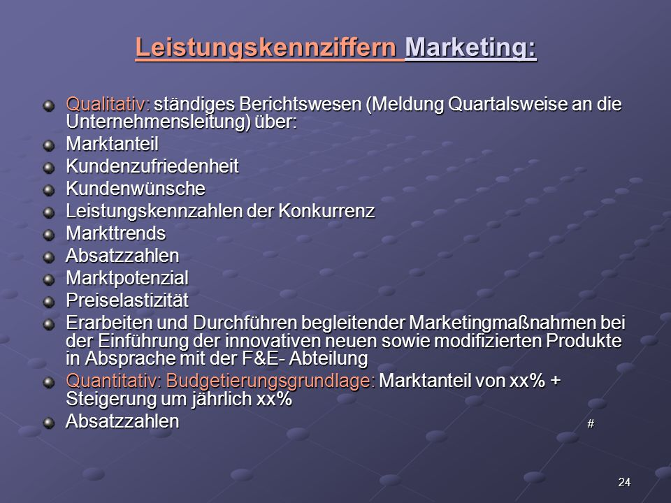 Leistungskennziffern Marketing:
