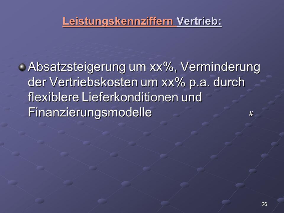 Leistungskennziffern Vertrieb: