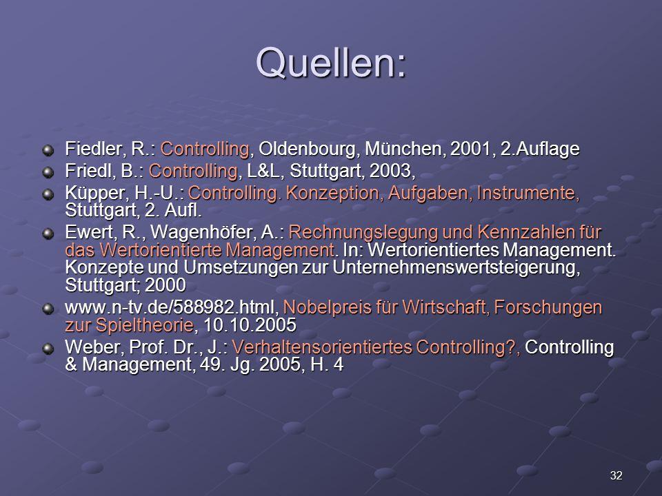 Quellen: Fiedler, R.: Controlling, Oldenbourg, München, 2001, 2.Auflage. Friedl, B.: Controlling, L&L, Stuttgart, 2003,