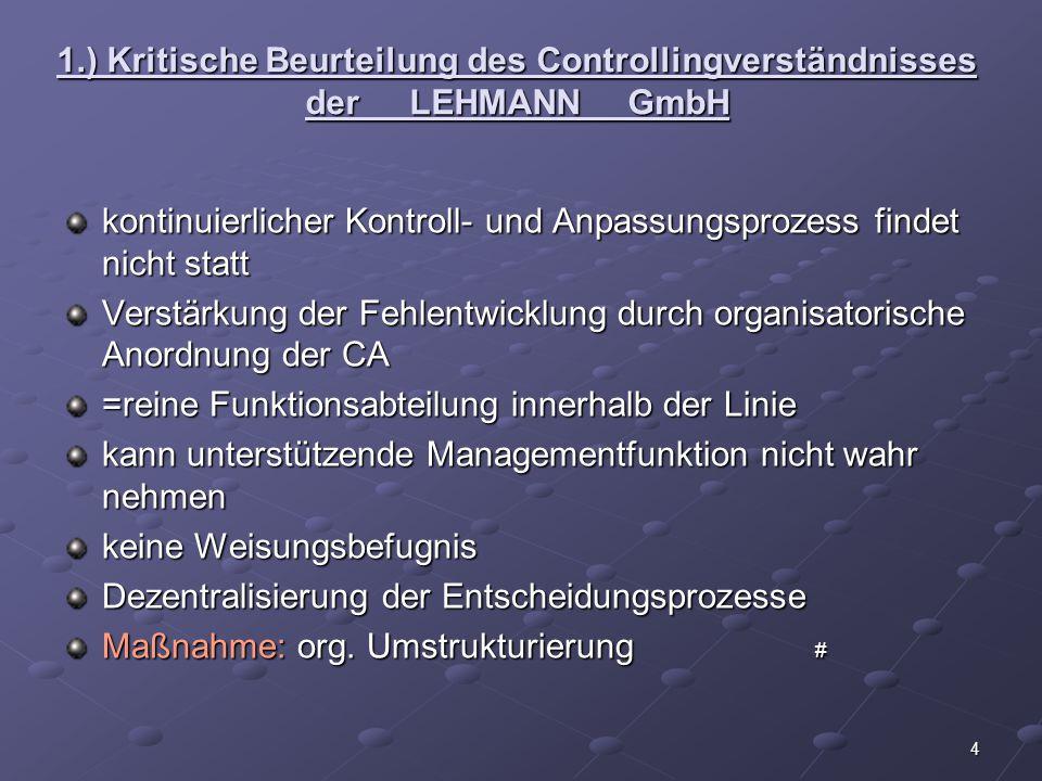 1. ) Kritische Beurteilung des Controllingverständnisses der. LEHMANN