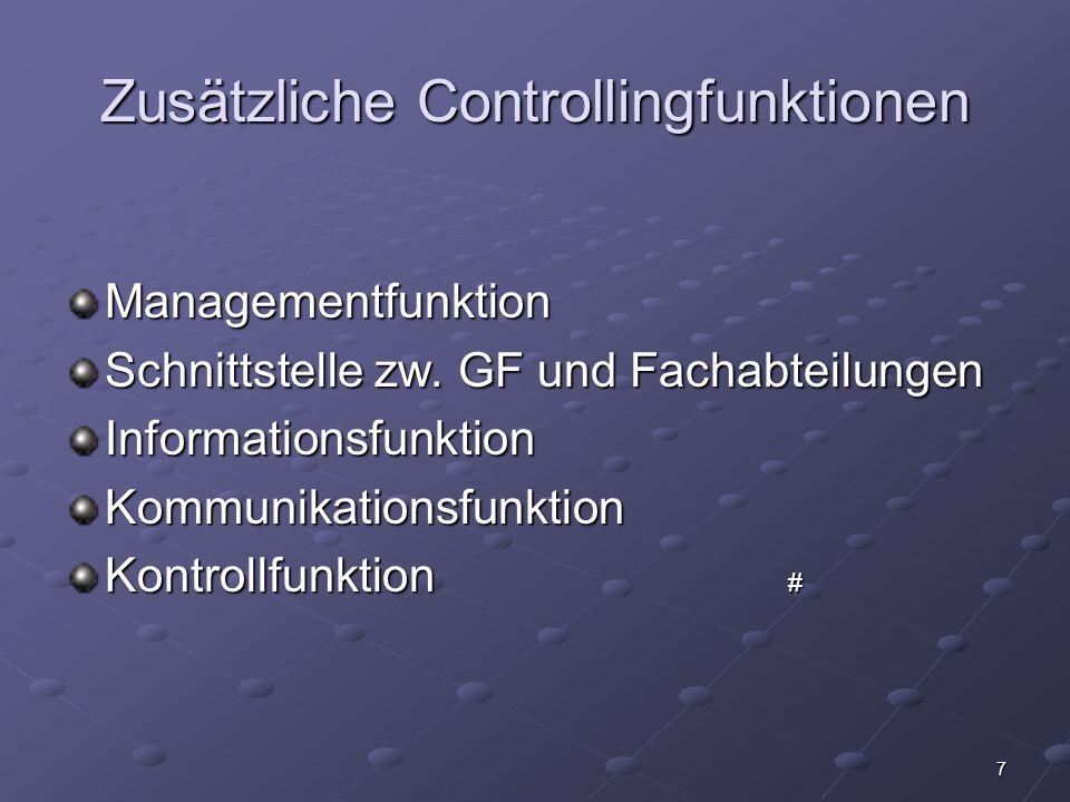 Zusätzliche Controllingfunktionen