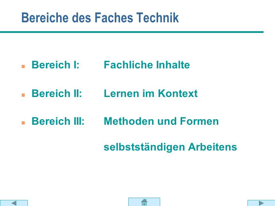 Bereiche des Faches Technik
