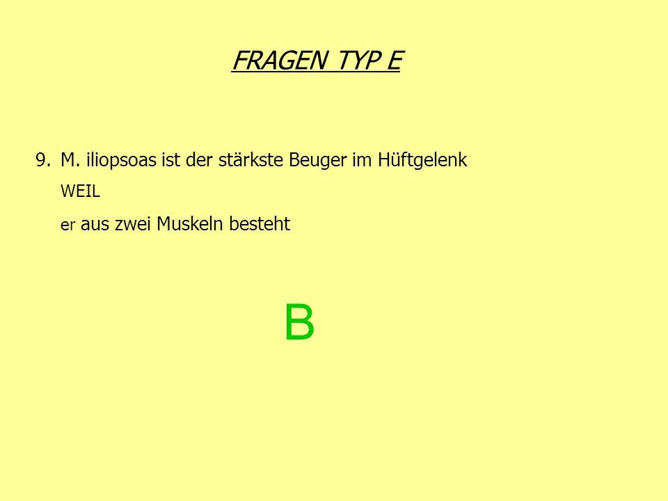 B FRAGEN TYP E M. iliopsoas ist der stärkste Beuger im Hüftgelenk WEIL