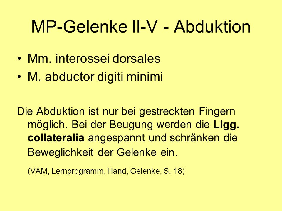 MP-Gelenke II-V - Abduktion
