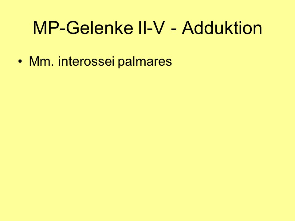 MP-Gelenke II-V - Adduktion